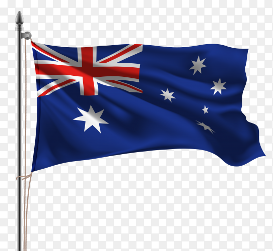 Flag Australia on flagpole isolated on transparent background PNG