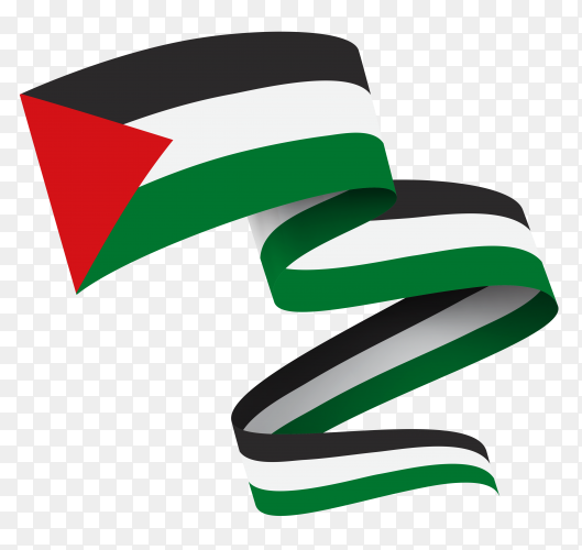 Flag of Palestine waving on transparent PNG