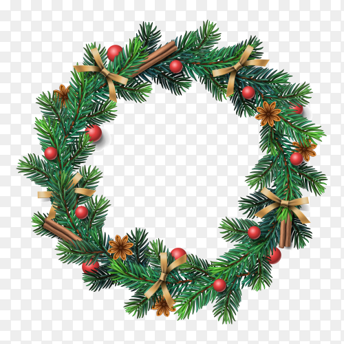 Flat design Christmas wreath concept on transparent background PNG