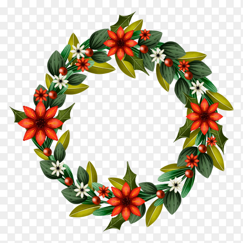 Flat design Christmas wreath concept premium vector PNG