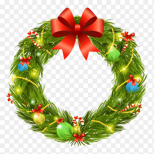Flat design Christmas wreath on transparent background PNG