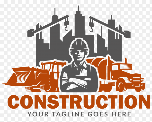 Flat design construction logo premium vector PNG