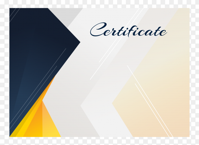 Flat design elegant certificate template on transparent background PNG