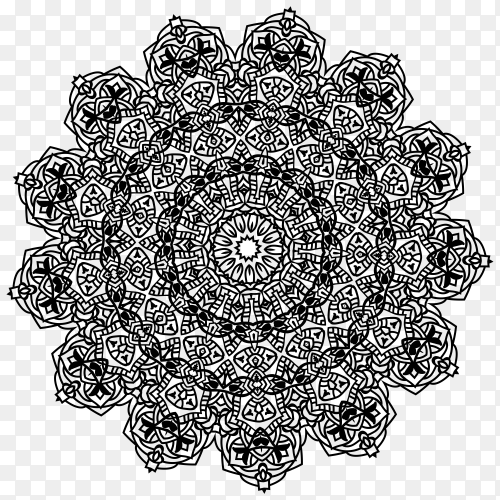 Floral mandala ornament on transparent PNG