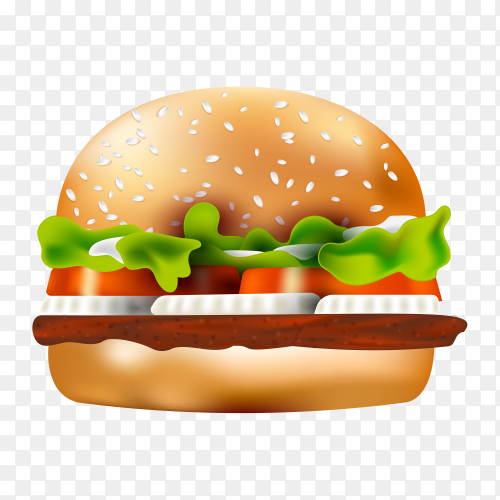 Food ad template burger on transparent background PNG