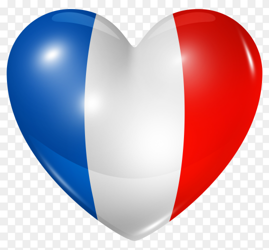 France flag in heart shape on transparent background PNG