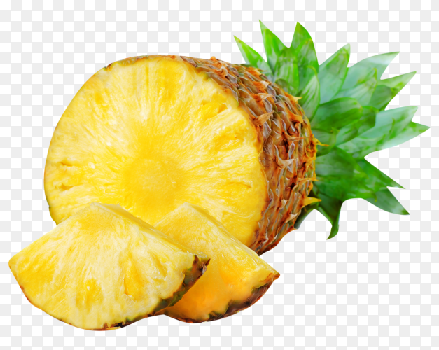 Fresh pineapple fruits with cut green leaves isolated on transparent background PNG
