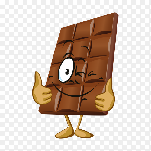 Funny cartoon chocolate on transparent background PNG