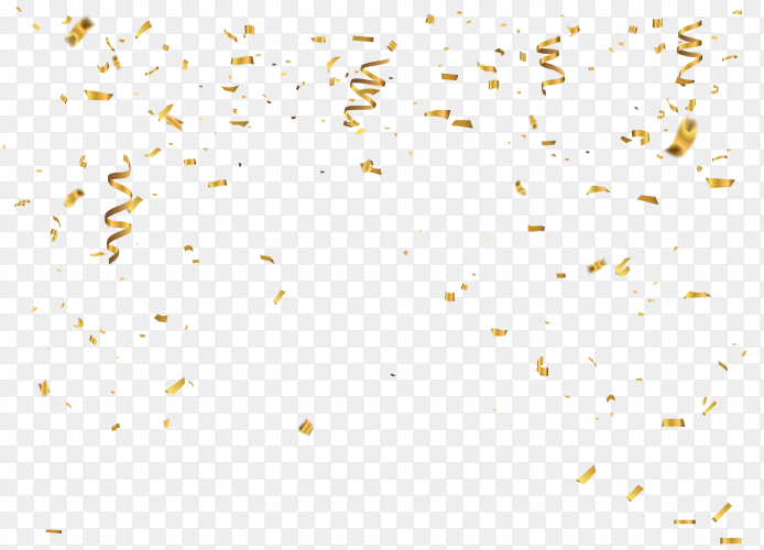 Gold confetti celebration carnival ribbons on transparent background PNG