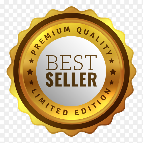 Golden best seller badge illustration on transparent background PNG