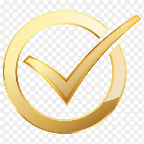Golden check mark inside golden circle on transparent background PNG