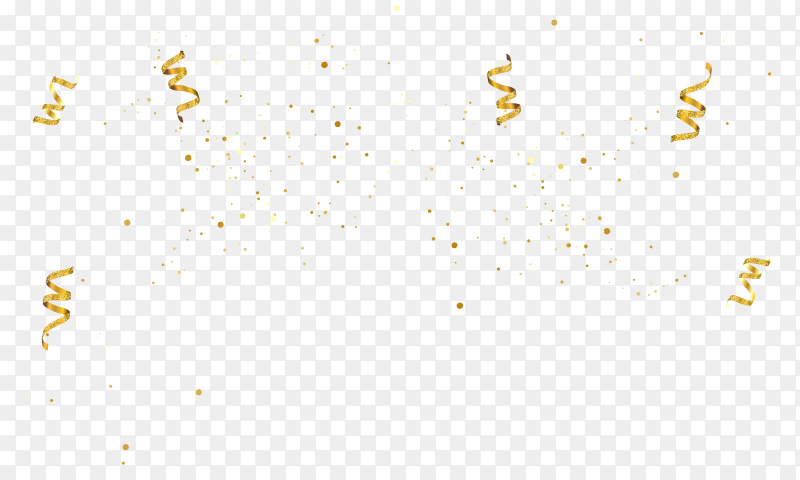 Golden confetti isolated on transparent background PNG