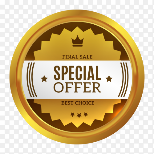 Golden speacial offer badge on transparent background PNG
