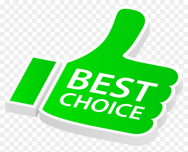 Green best choice with thumbs up on transparent background PNG