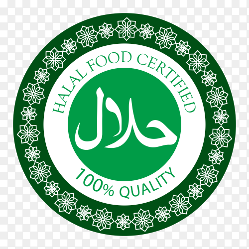Green halal label on transparent background PNG