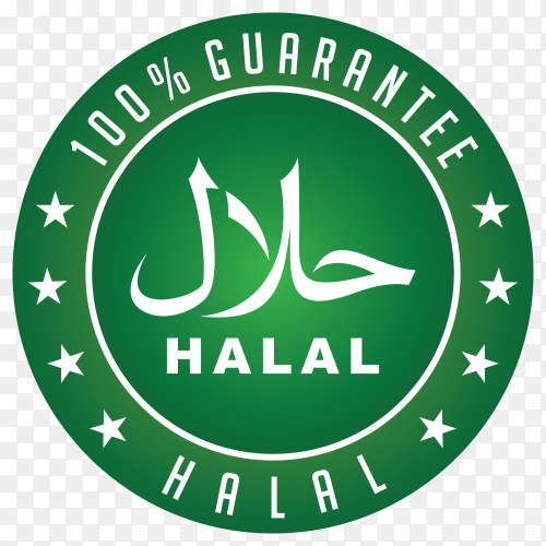 Green halal label with flat design on transparent background PNG