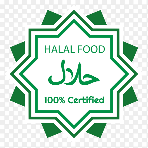 Halal food label on transparent background PNG