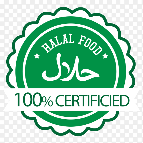 Halal stamp with flat design on transparent background PNG