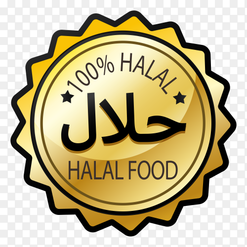 Halal stamp with golden style on transparent background PNG