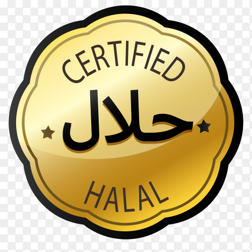 Halal stamp with golden style premium vector PNG