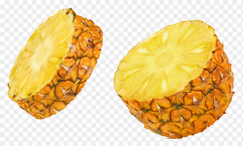 Half pineapple isolated on transparent background PNG