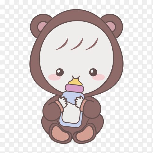 Hand drawn Cute Baby drink milk on transparent background PNG
