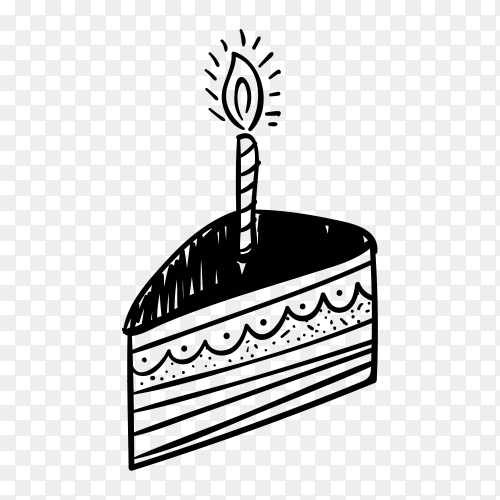 Hand drawn birthday cake with candle on transparent background PNG