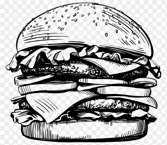 Hand drawn burger on transparent background PNG