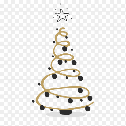 Hand drawn creative Christmas tree on transparent background PNG