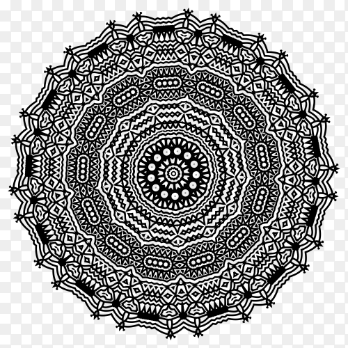 Hand drawn mandala on transparent background PNG
