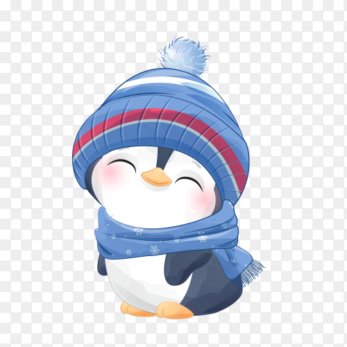 Hand drawn penguin for christmas day on transparent background PNG