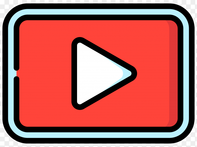 Hand drawn youtube player icon on transparent background PNG