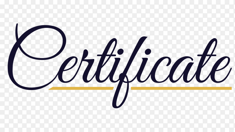 Hand writing Certificate lettering on transparent background PNG