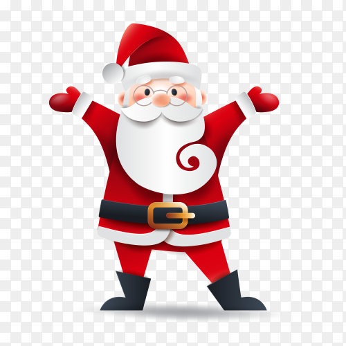 Happy santa claus celebrating christmas on transparent background PNG