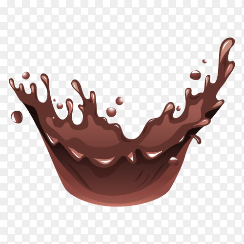 Hot chocolate, liquid chocolate crown splash on transparent background PNG