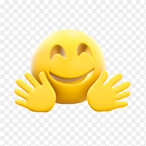 Hugging face emoji on transparent background PNG