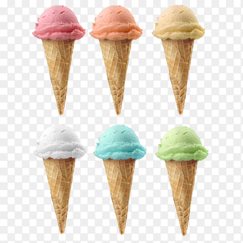 Ice cream cones of 6 different flavors on transparent background PNG