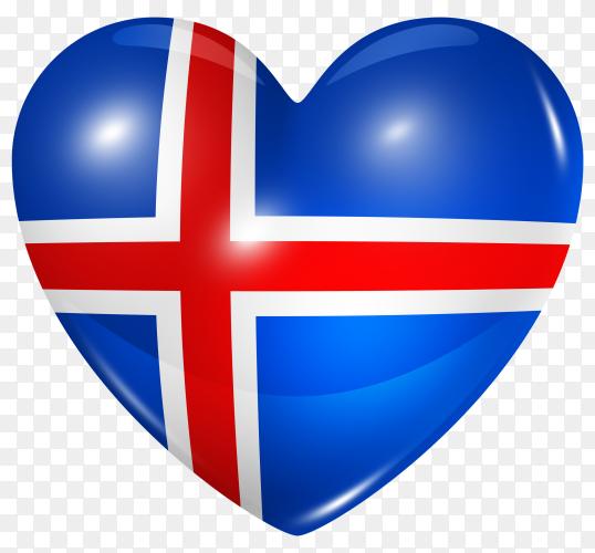 Iceland flag in heart shape on transparent background PNG