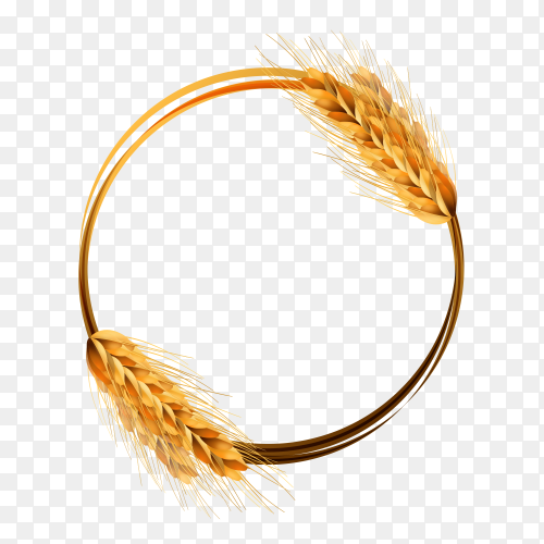 Illustration of a wreath of wheat on transparent background PNG