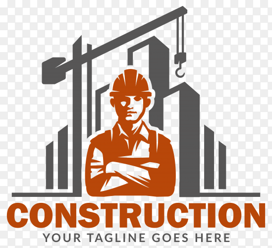 Illustration of construction logo on transparent background PNG