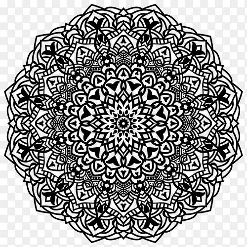 Illustration of mandala design on transparent background PNG