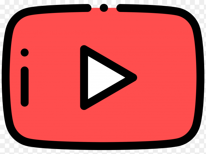 Illustration of YouTube player icon design on transparent background PNG