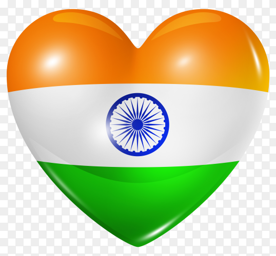 India flag in heart shape on transparent background PNG