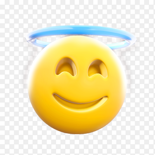 Innocent face emoji clipart PNG