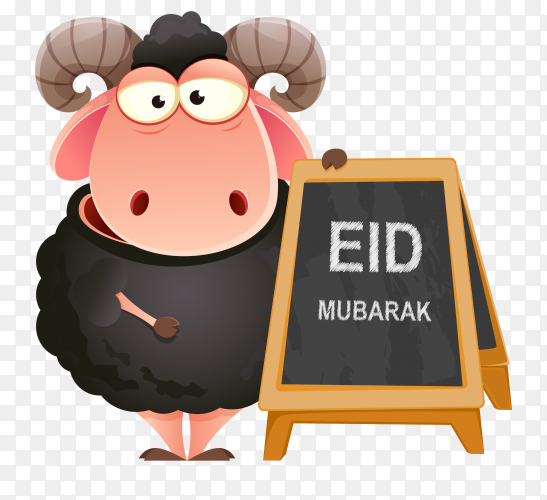 Islamic holiday of Eid al adha with goat for greeting concept on transparent background PNG