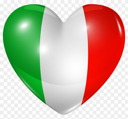 Italy flag in heart shape on transparent background PNG