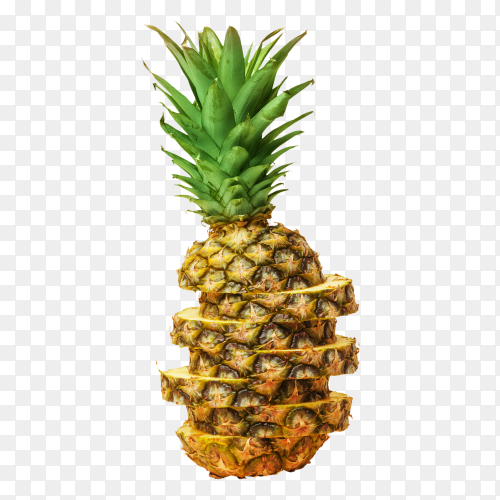 Juicy pineapple, cut into pieces on transparent background PNG