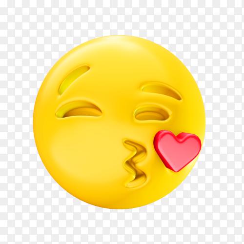 Kissing face emoji premium vector PNG