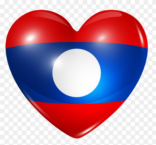 Laos flag in heart shape on transparent background PNG