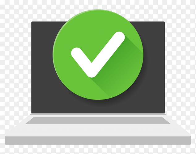 Laptop with check mark on transparent background PNG